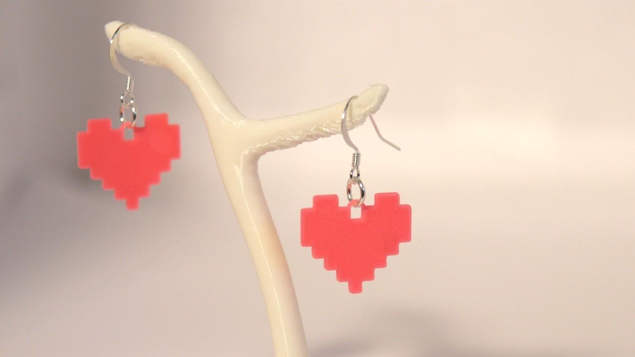 Boucles d'oreilles Coeur de pixels - rose