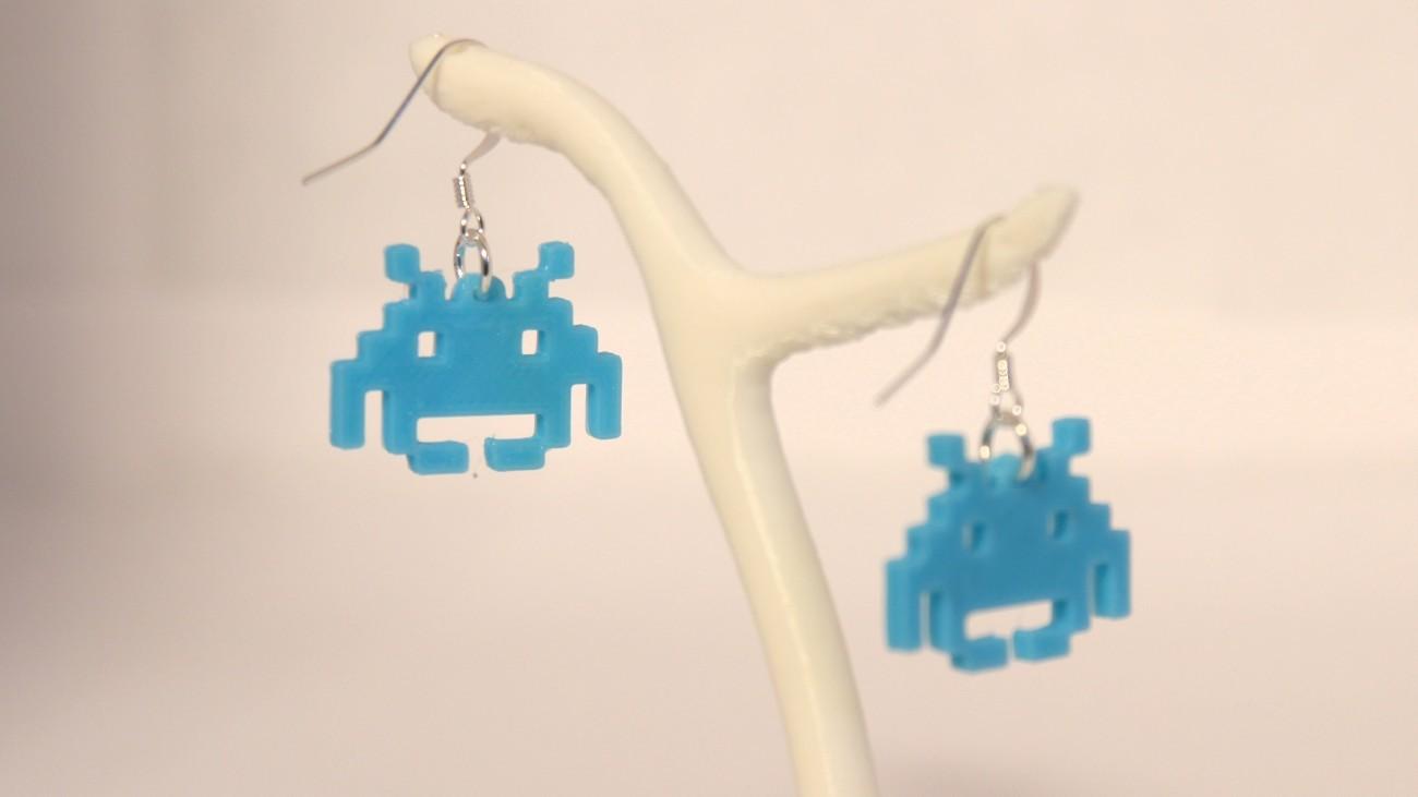 Boucles d'oreilles Invader 1.1 Bleu
