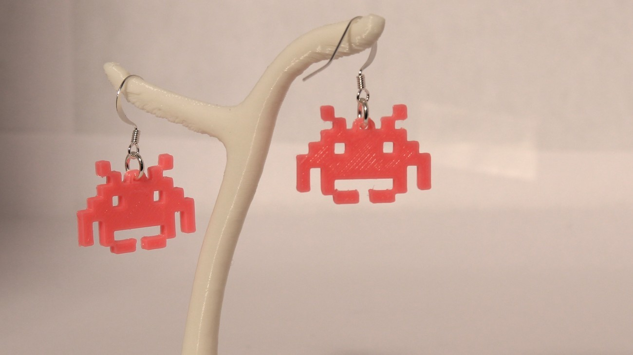 Boucles d'oreilles Invader 1.1 Rose