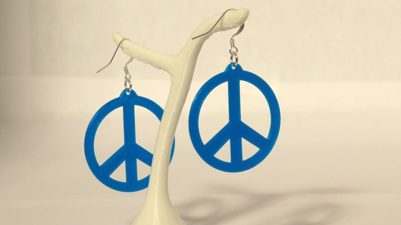 Boucles d'oreilles Peace & Love Slim - Bleu