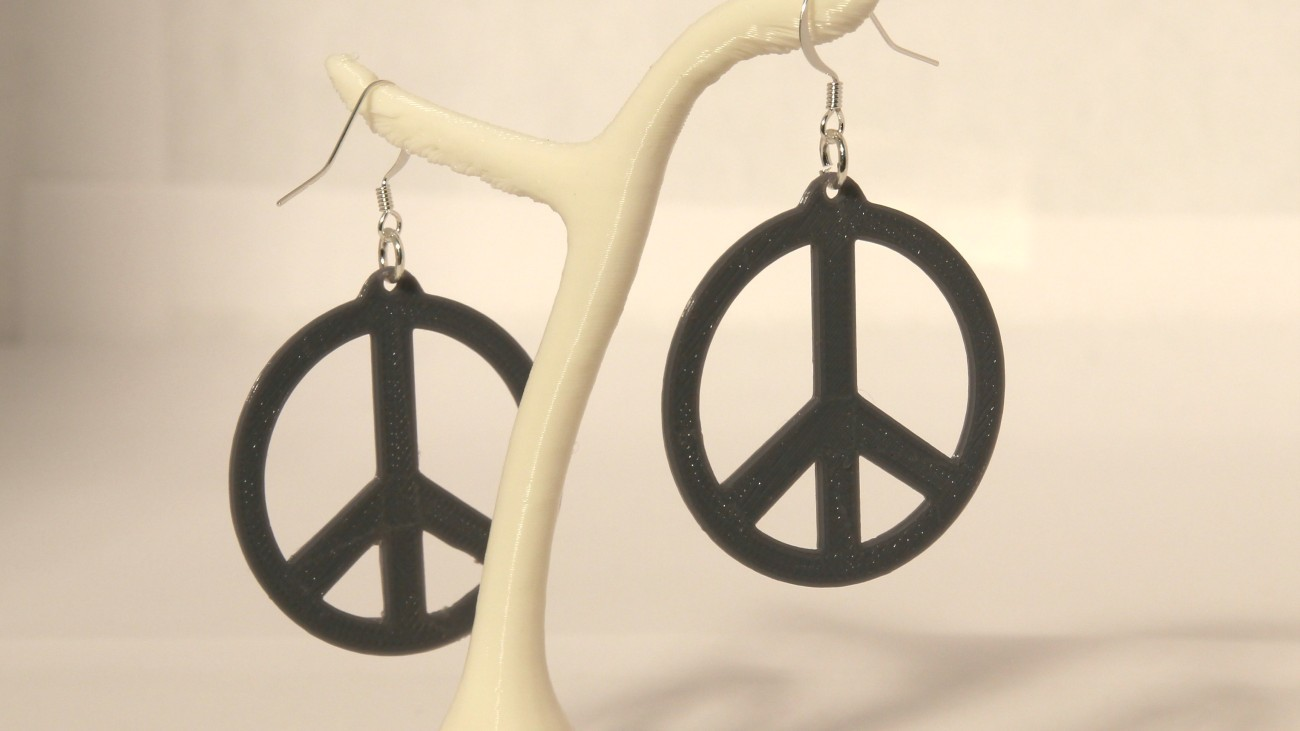 Boucles d'oreilles Peace & Love Slim - gris