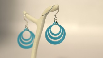 Boucles d'oreilles Optical Illusion #2 small- bleu