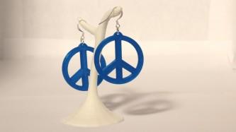Boucles d'oreilles Peace & Love - bleu électrique