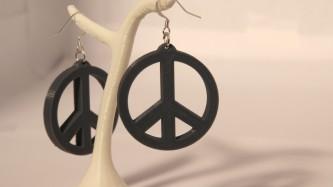 Boucles d'oreilles Peace & Love - gris
