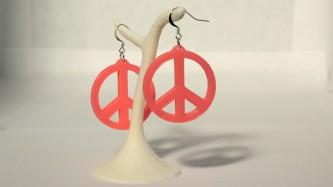 Boucles d'oreilles Peace & Love - rose
