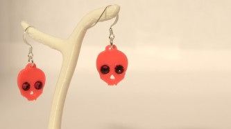 Boucles d'oreilles Skull & diams - rose